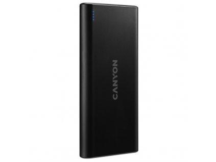 Powerbank Canyon 10000 mAh, Micro USB/ USB-C - černá