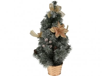 Stromek vánoční v květníku 40cm ozdobený ZE/mix barev