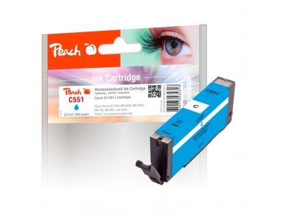 Inkoustová náplň Peach Canon CLI-551C, 8, 5ml, kompatibilní - černá