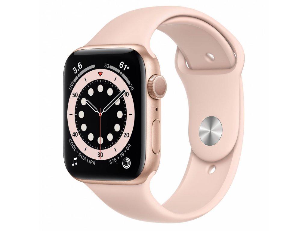 Apple Watch S6 GPS, 44mm Gold Aluminium Case with Pink Sand Sport Band - Regular