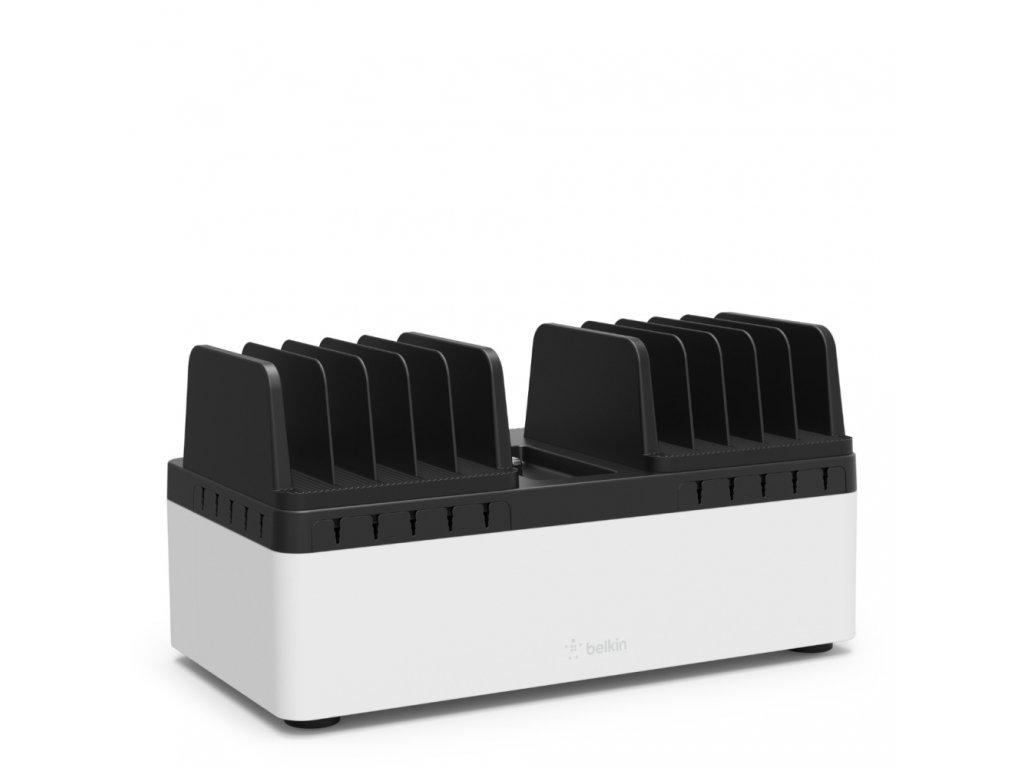 Belkin Store & Charge Go w Fixed Slots & 10 port USB Power (B2B141x & B2B139vf) - Black/White