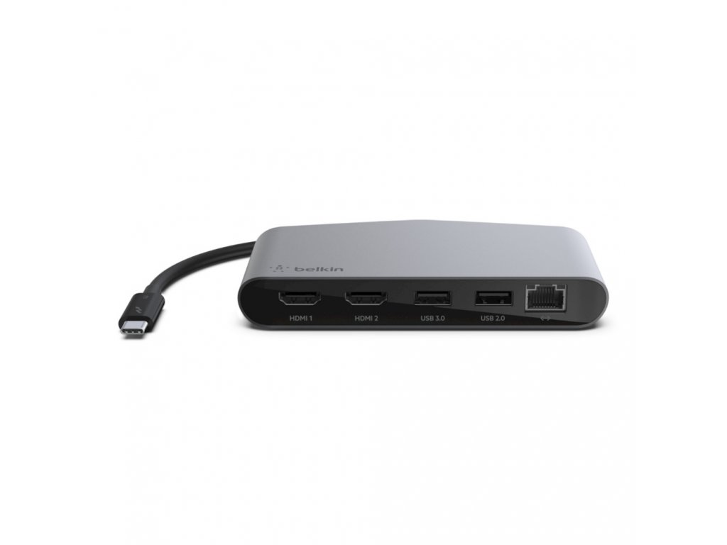 Belkin Hub Thunderboltª 3 2-Port HDMI 4K 1-Port USB-3.0 1-Port USB-2.0 1-Port Ethernet - Grey