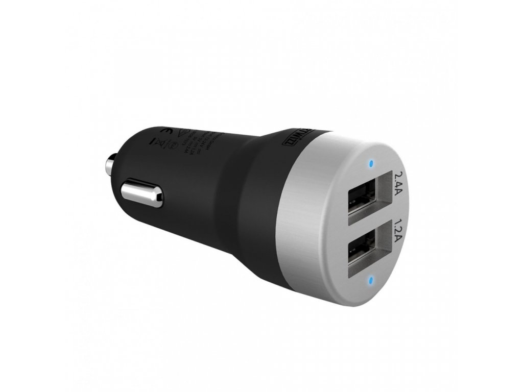Artwizz CarPlug dvojitá autonabíječka pro smartphony, smartwatches a tablety - Black/Alu