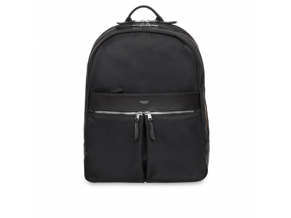 Knomo BEAUCHAMP XL Backpack 15.6-inch Nylon w Full Grain Leather Trim - BLACK/SIL (Female)