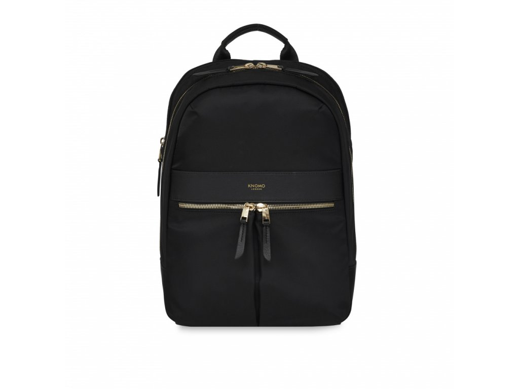 Knomo BEAUCHAMP M Backpack 12-inch Nylon w Full Grain Leather Trim - BLACK (Female)