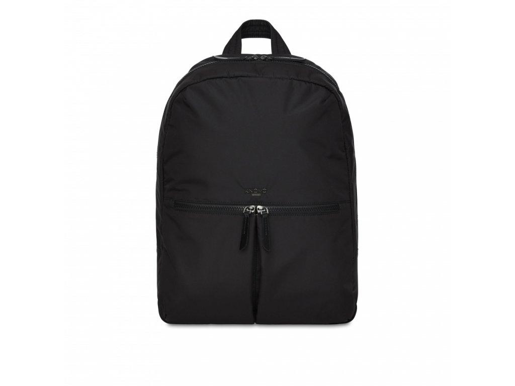 Knomo BERLIN Backpack 15-inch Polyester w Split Leather Trim - BLACK (Female)