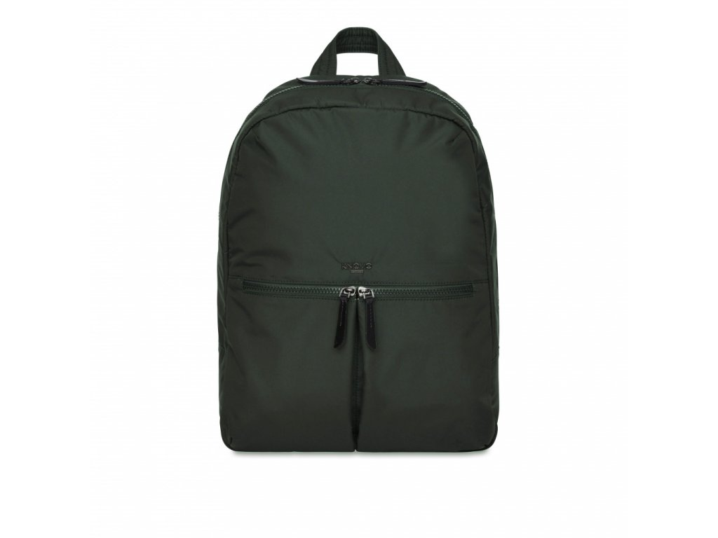 Knomo BERLIN Backpack 15-inch Polyester w Split Leather Trim - BOTTLE GREEN (Female)