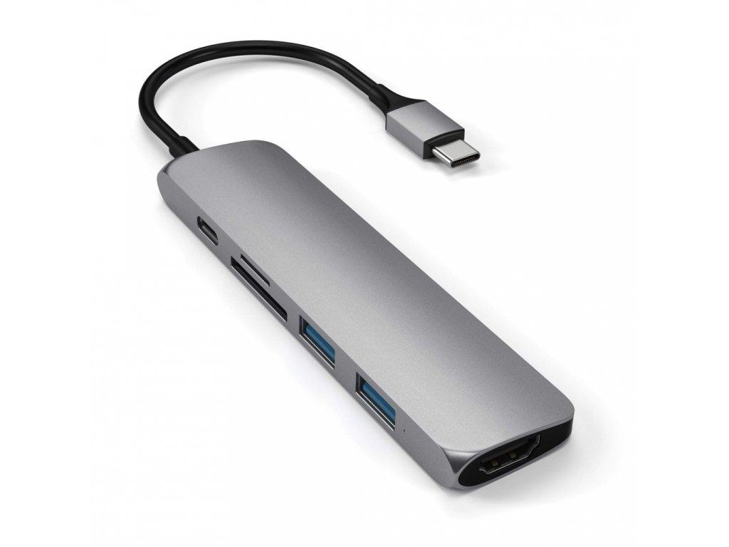 Satechi TYPE-C Slim Multimedia Adapter V2 - Space gray