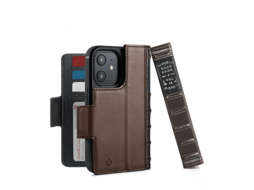 TwelveSouth BookBook Premium leather, all-in-one iPhone wallet case for iPhone 12 mini - Brown