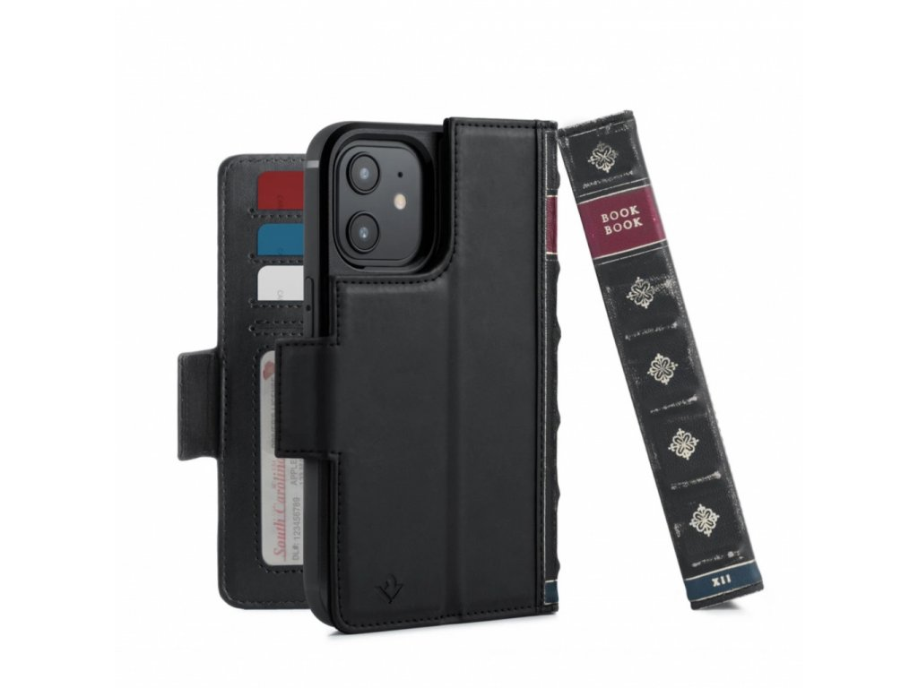 TwelveSouth BookBook Premium leather, all-in-one iPhone wallet case for iPhone 12/Pro - Black