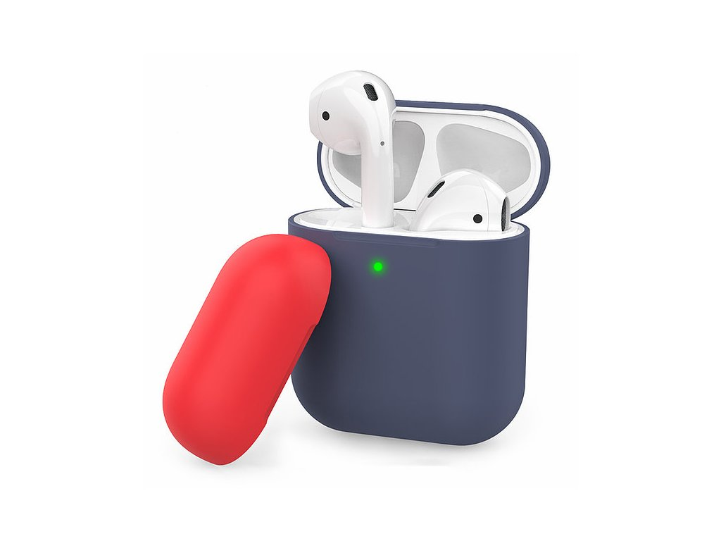 AhaStyle Silicone DUO Case for AirPods - Navy Blue/Red