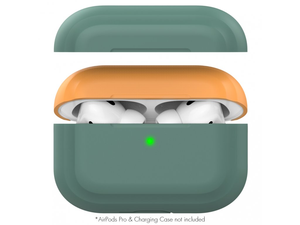 AhaStyle Silicone DUO Case for AirPods Pro - Midnight Green/Orange