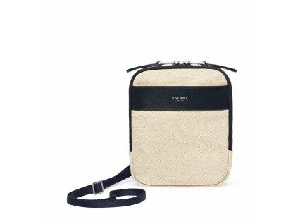 Knomo REXCross Body Purse Bag Canvas w Full Grain Leather Trim - NATURAL (Female)