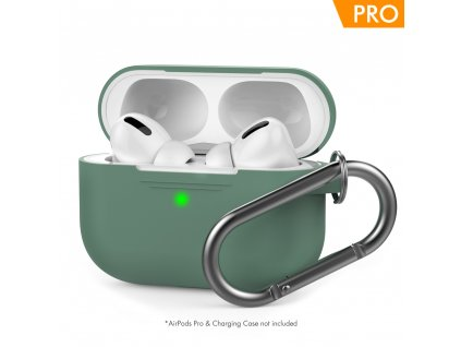 AhaStyle Silicone Case for AirPods Pro with Belt - Midnight Green