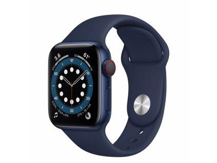 Apple Watch S6 GPS + Cellular, 40mm Blue Aluminium Case with Deep Navy Sport Band - Regular