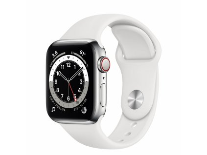 Apple Watch S6 GPS + Cellular, 40mm Silver Stainless Steel Case with White Sport Band - Regular