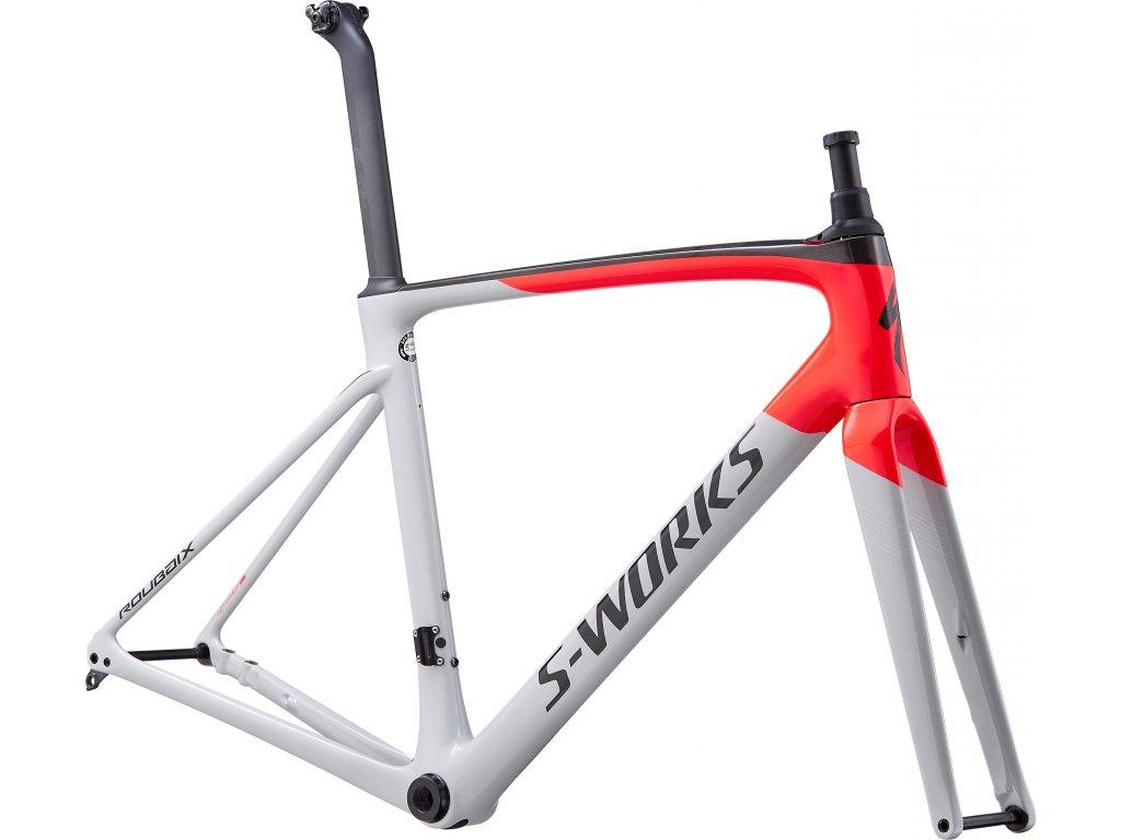 S-Works Roubaix Frameset Gloss/Satin - Dove Gray/Rocket Red/Back