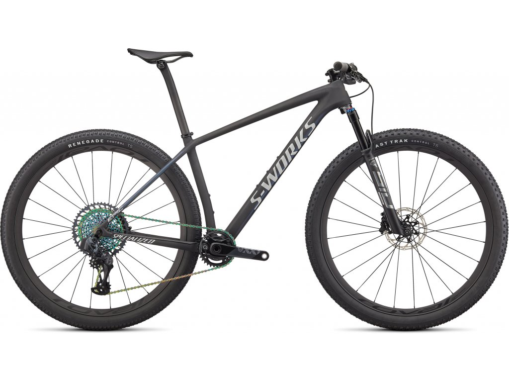 S-Works Epic Hardtail SATIN CARBON / COLOR RUN BLUE MURANO PEARL / GLOSS CHROME FOIL LOGOS