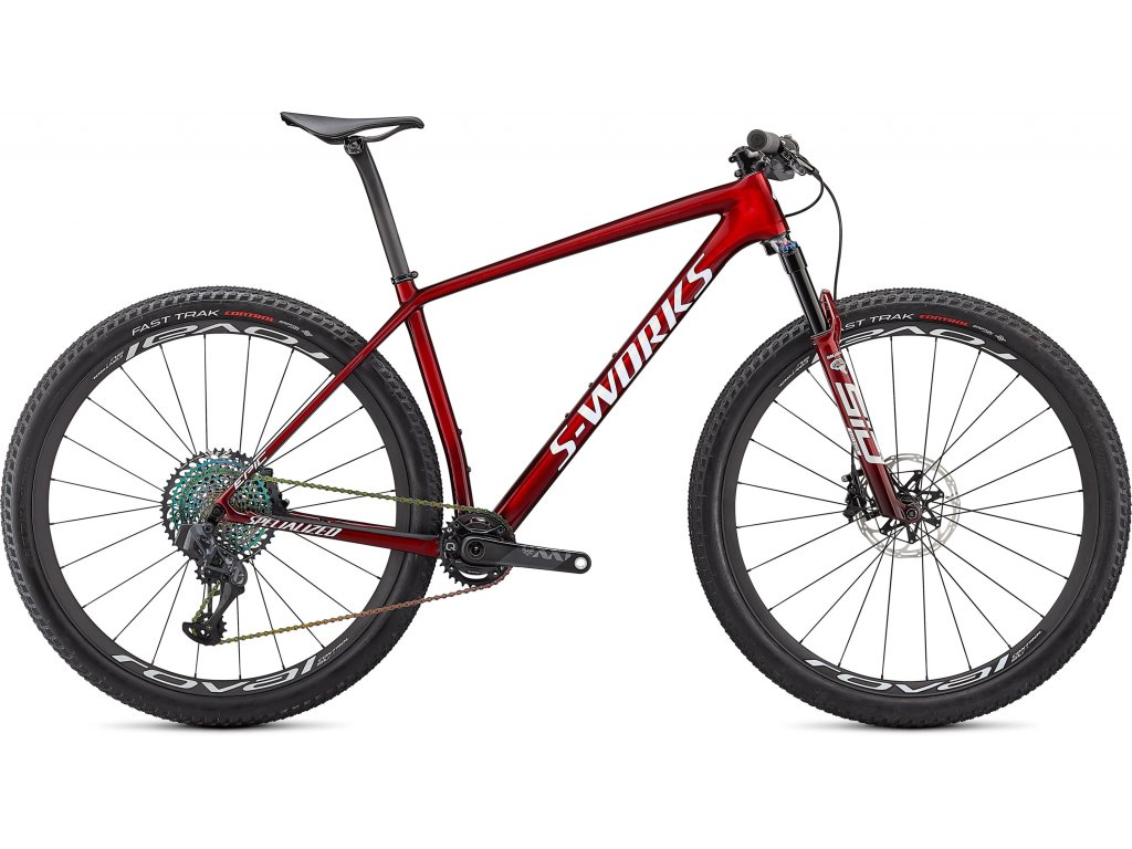 S-Works Epic Hardtail GLOSS RED TINT FADE OVER BRUSHED SILVER/TARMAC BLACK/WHITE w/ GOLD PEARL