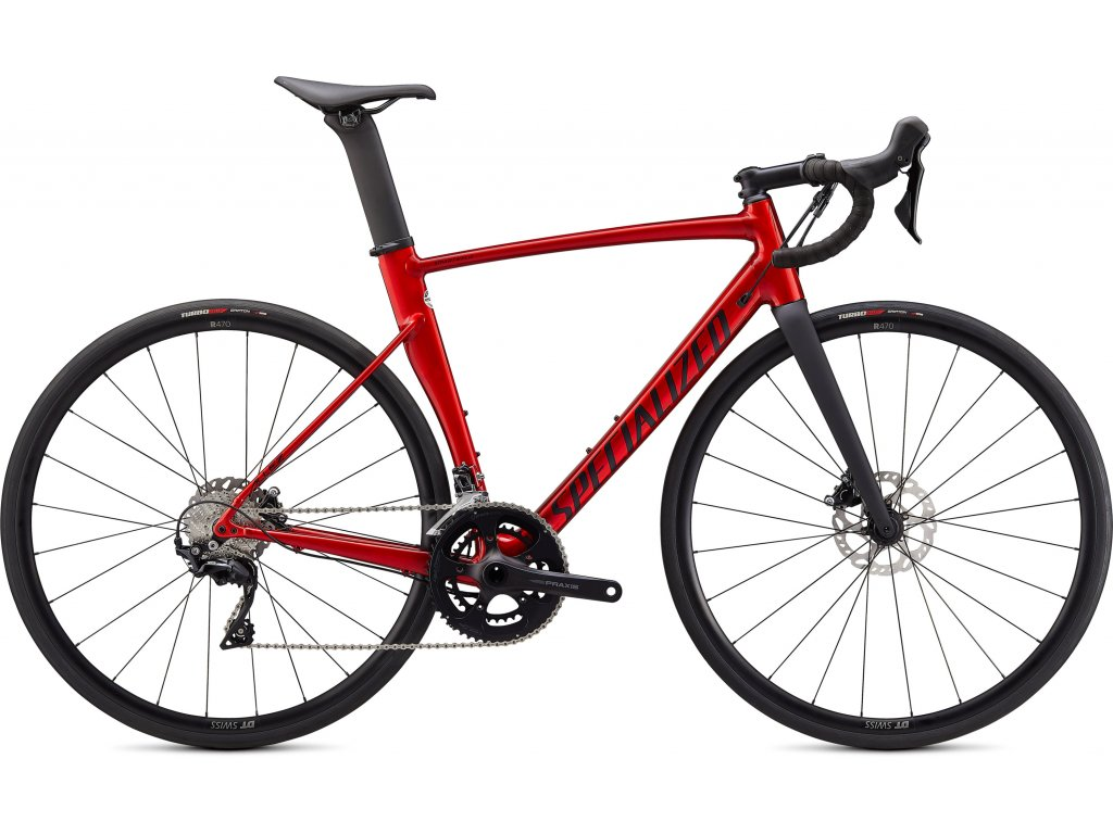 Allez Sprint Comp Disc Gloss Brushed Aluminum With Red Candy Tint/Satin Black