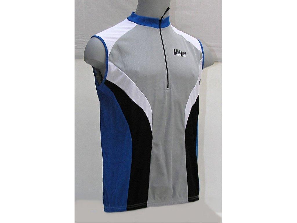 Cyklistický dres V-RIDER bez rukávu S modro/šedý - S