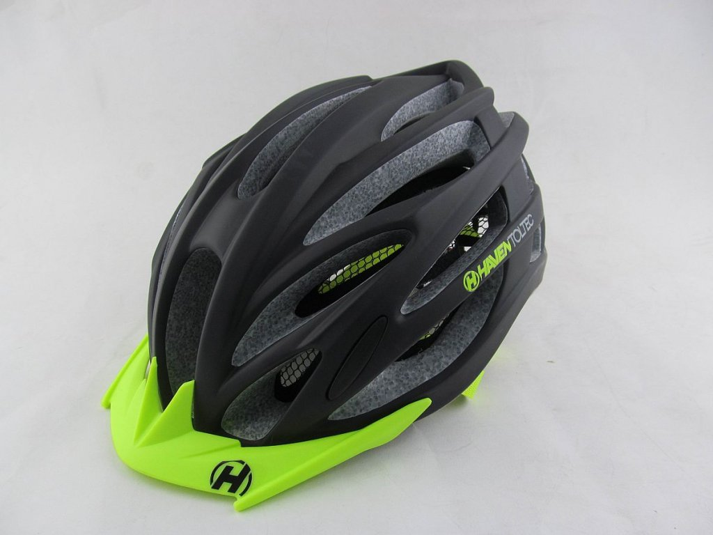 Přilba HAVEN TOLTEC black/green - se zeleným štítkem