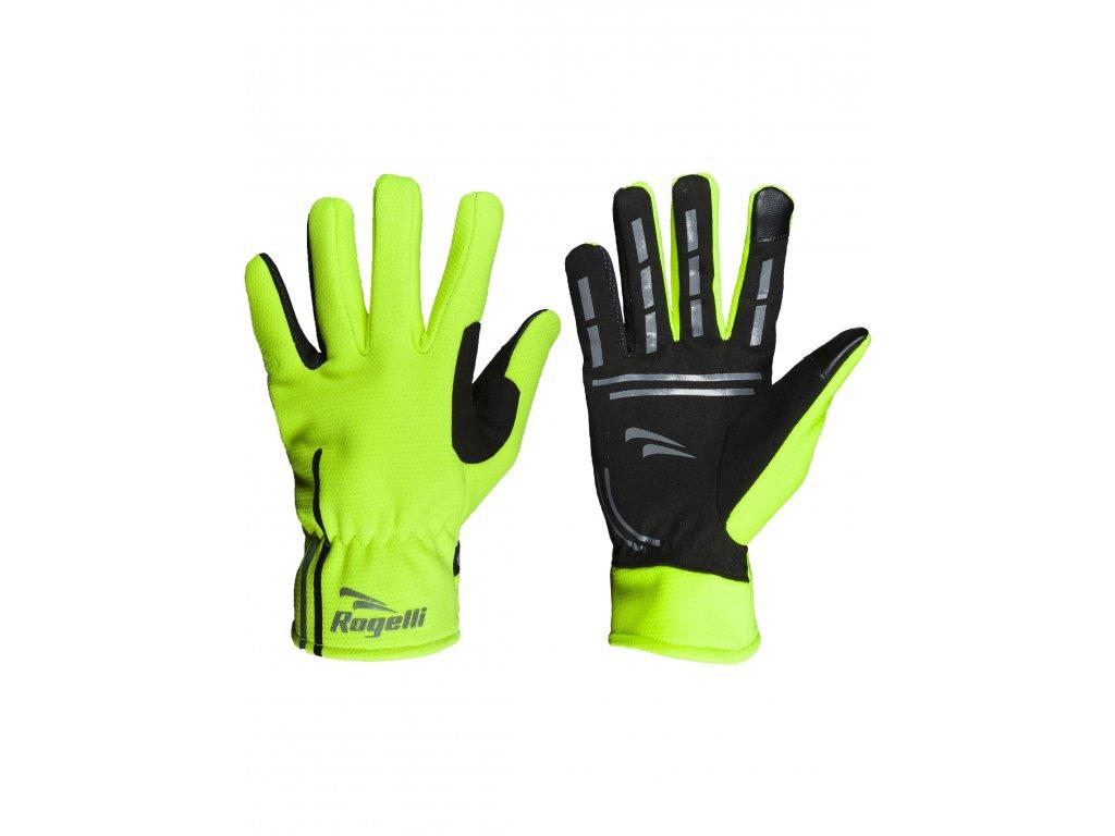 slabe softshellove zimni rukavice s protiskluzovou dlani rogelli angoon reflexni zlute original