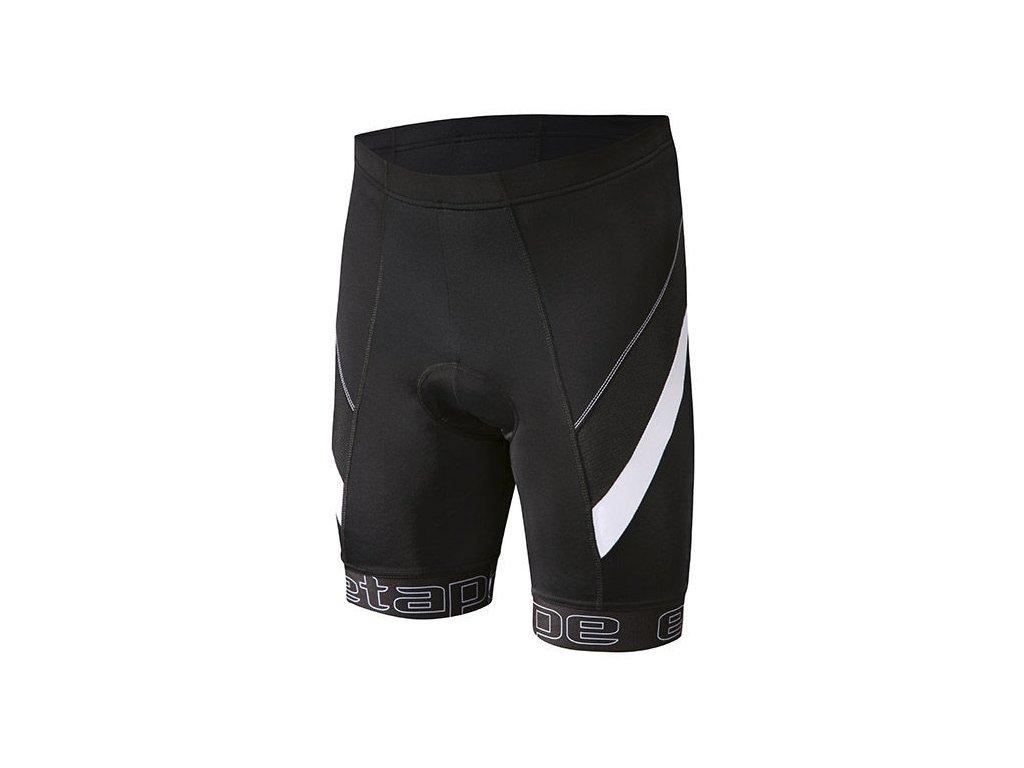 Etape - pánské kalhoty Profi pas s vložkou, černá/bílá