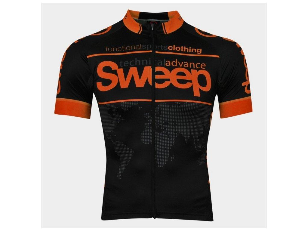 Cyklistický dres Sweep ELITE RACE D026 black/orange fluo