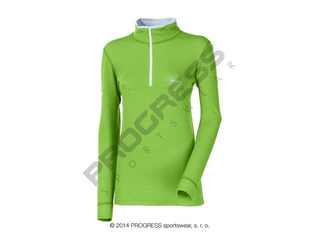 Progress WS TRZZ dámský termo rolák s krátkým zipem zelený