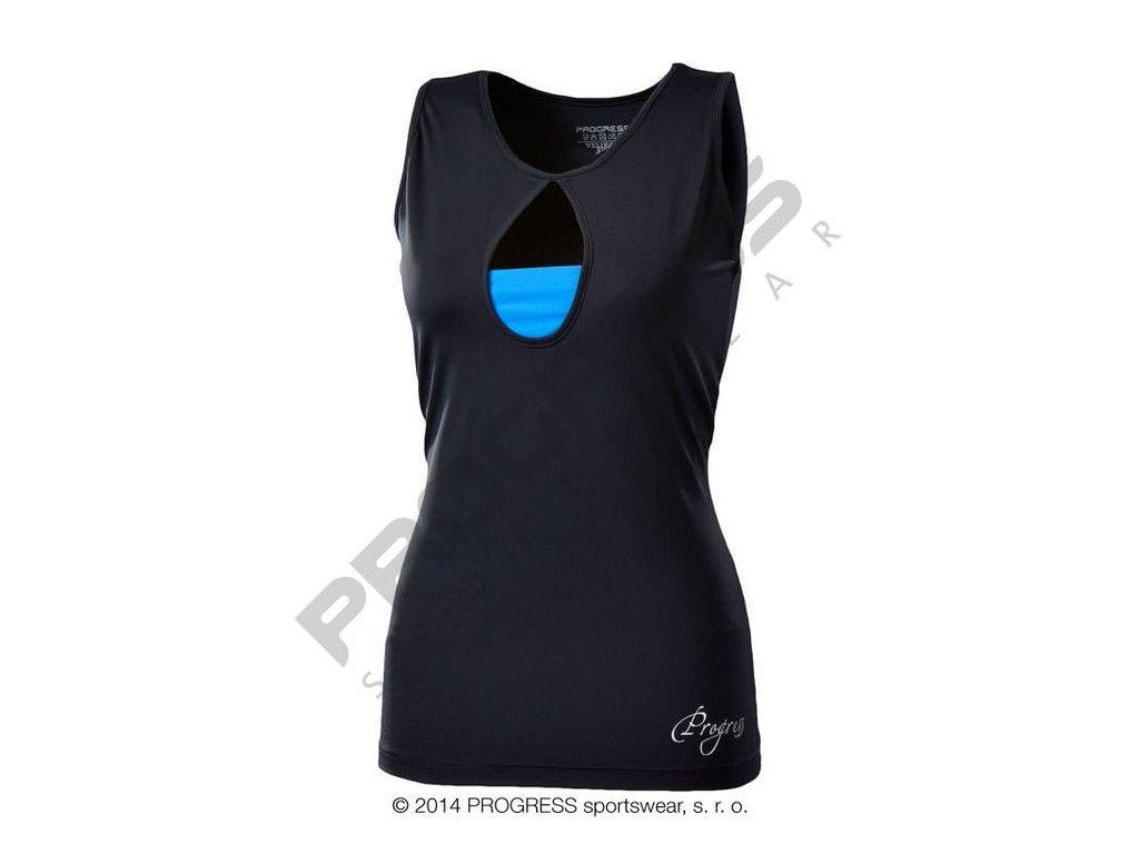 Progress TORA dámské sportovní fitness tílko černá/modrá