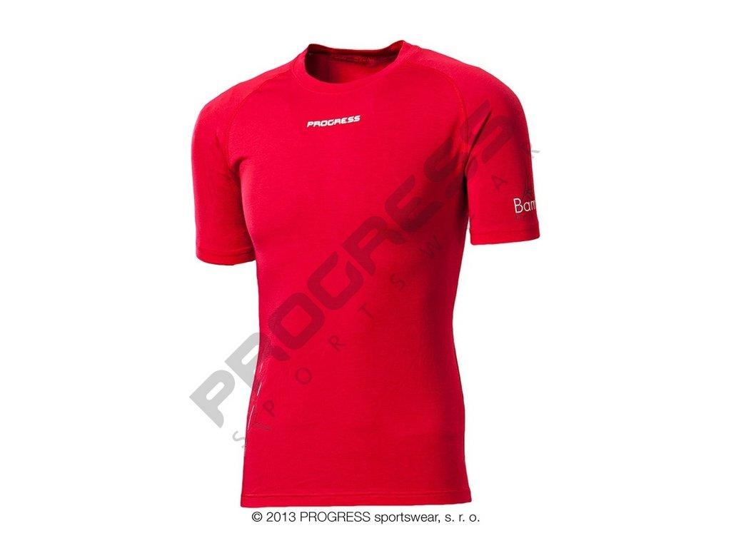 E NKR pánské termo tričko krátký rukáv bambus červená