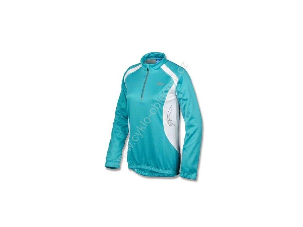Dámský cyklo dres ROGELLI ADRIA - dlouhý rukáv, modro-bílý vel.XL