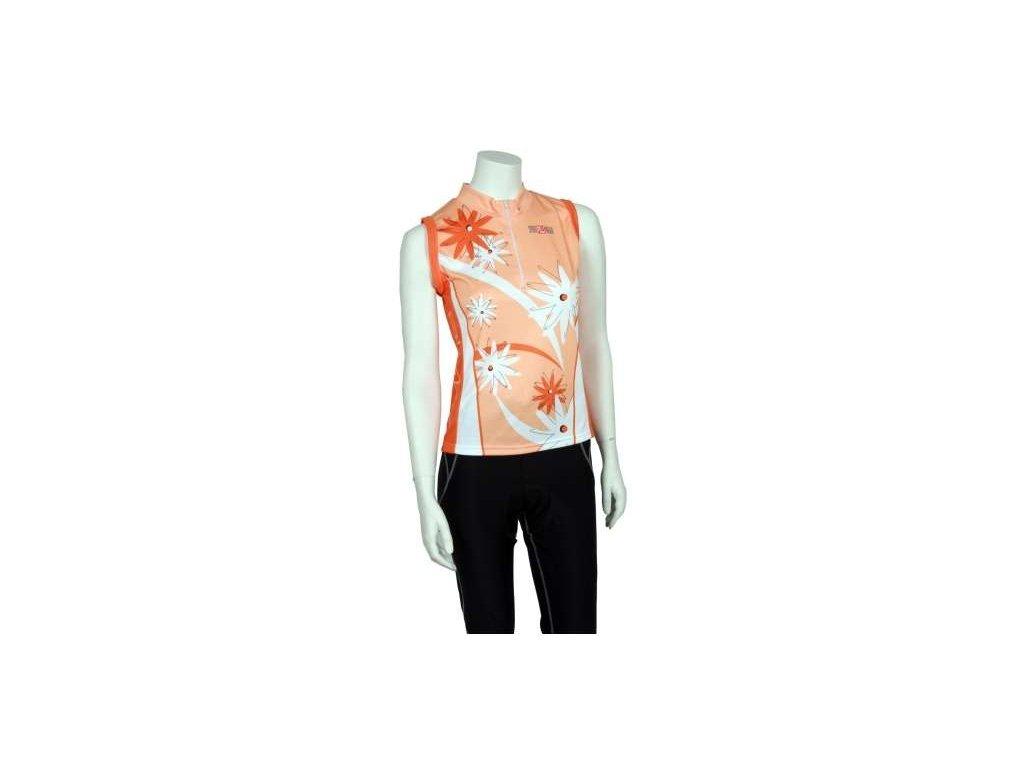 Pells dámský dres FLOWERS - oranžový, vel.S