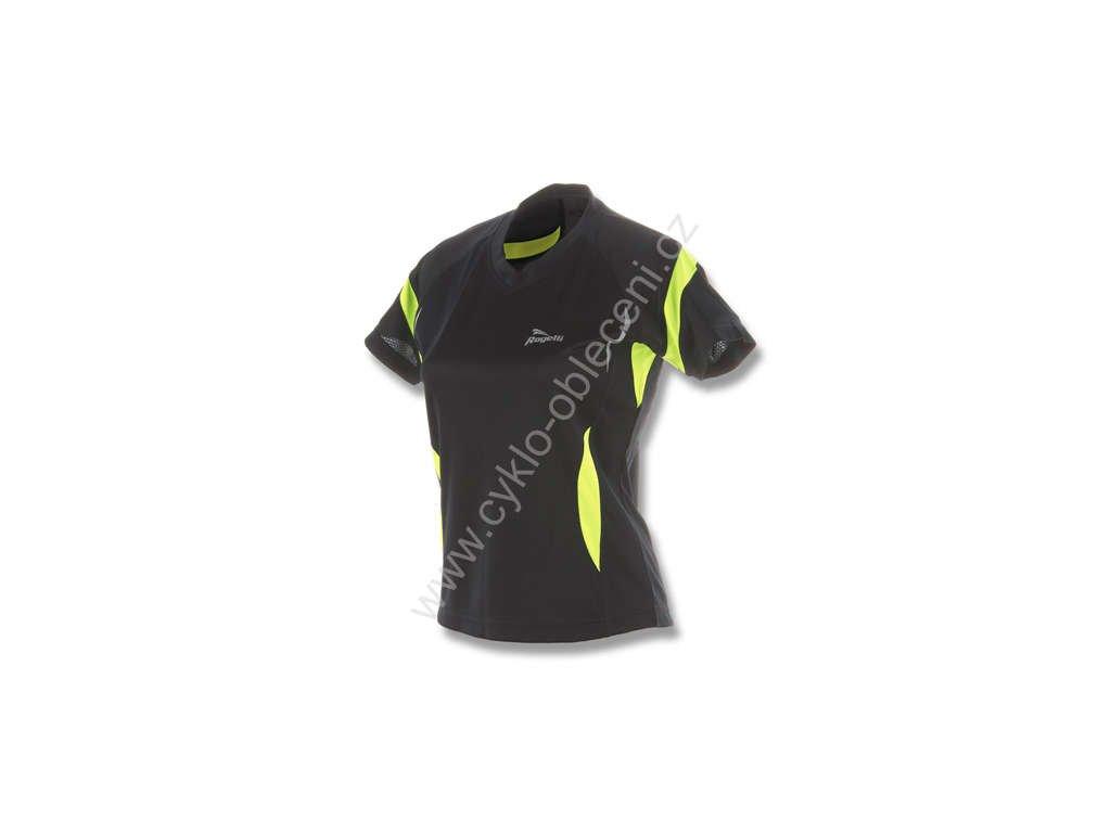 Dámské funkční tričko Rogelli CALERA - černo-reflexní žlutá