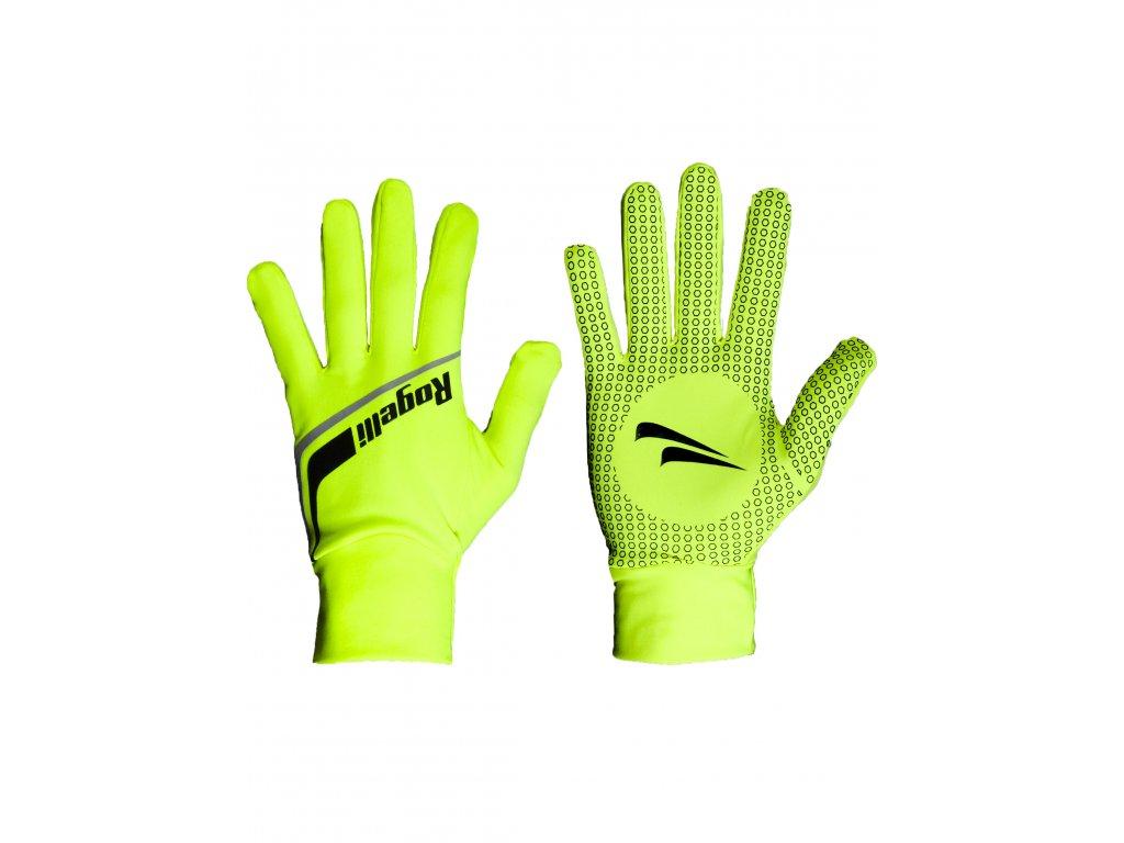 slabe softshellove zimni rukavice s protiskluzovou dlani rogelli burlington reflexni zlute original