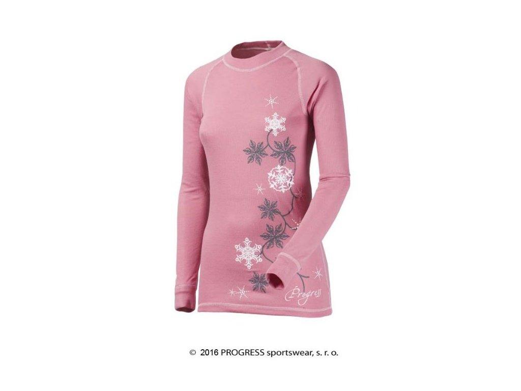 DF NDRZ PRINT dámské termo tričko dlouhý rukáv - růžové