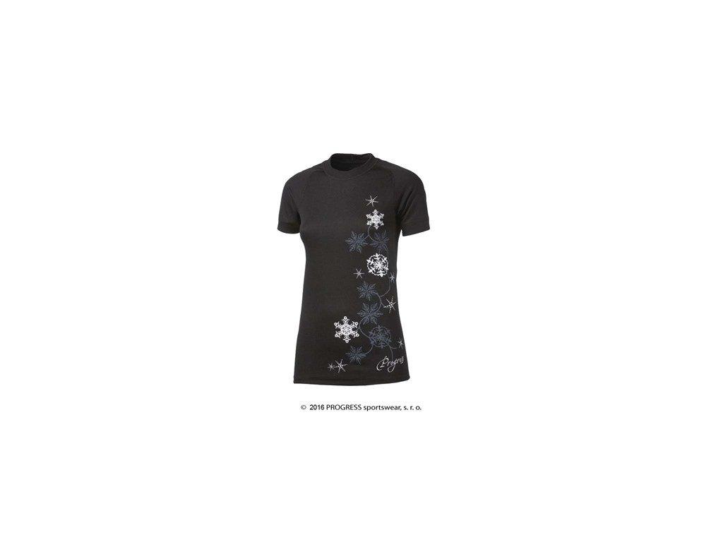 DF NKRZ PRINT dámské termo tričko krátký rukáv - černé