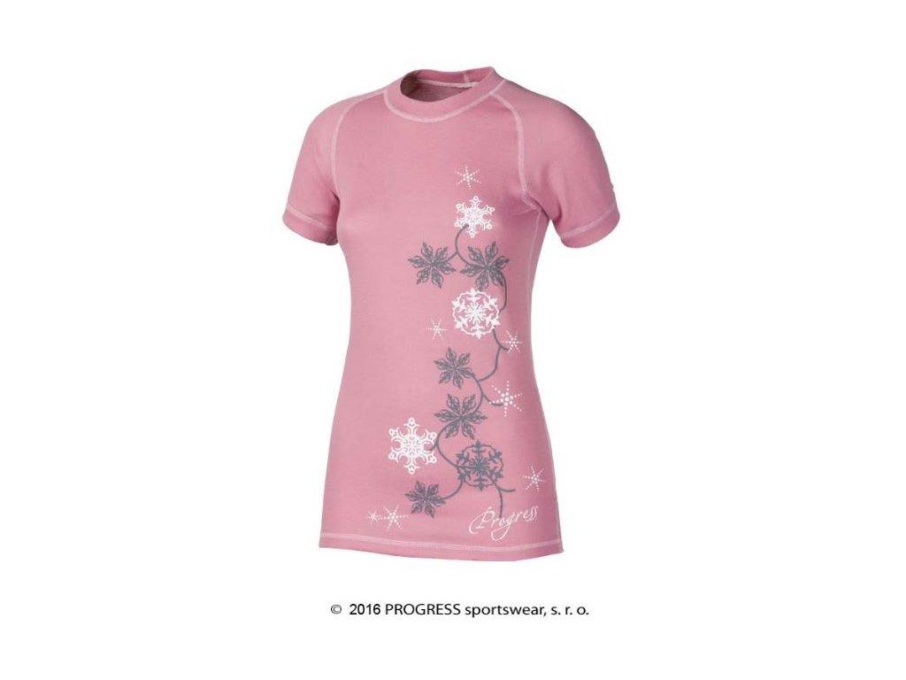 DF NKRZ PRINT dámské termo tričko krátký rukáv - růžové