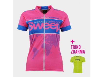 cyklo d033 pink fluo blue a tricko