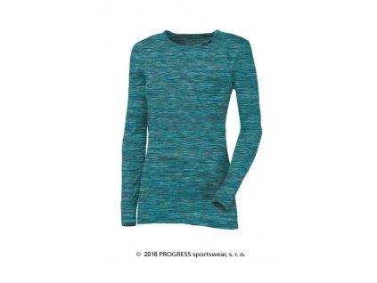 LOCA dámské triko s dlouhým rukávem -modrá