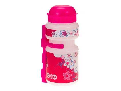 Dětská sportovní lahev One Smile 250 ml, transparent/růžová
