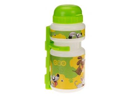 Dětská sportovní lahev One Smile 250 ml, transparent/zelená