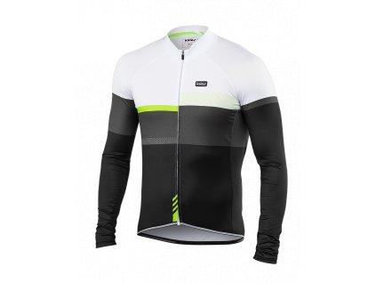 Cyklistický Dres dlouhý rukáv PASSION X9 černý/fluo