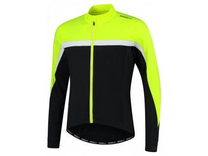 COURSE, cyklistický dres dl. rukáv, černá-reflexní žlutá-bílá