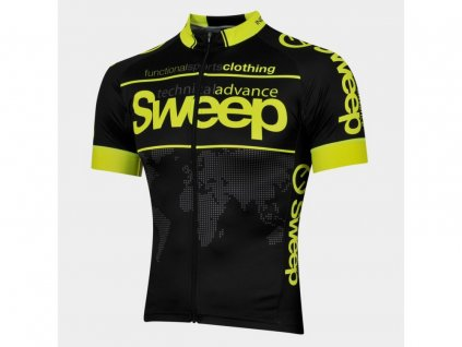 Cyklistický dres Sweep ELITE RACE D026 black/yellow fluo