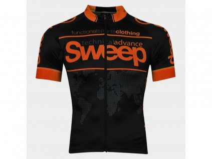 Cyklistický dres Sweep ELITE RACE D026 black/orange fluo