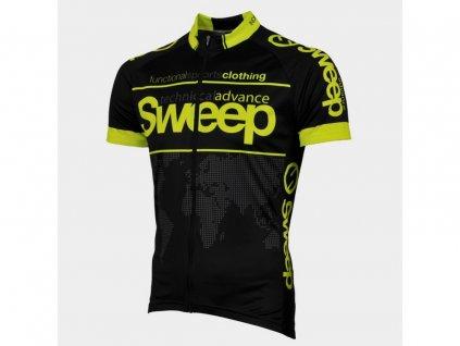 Cyklistický dres Sweep CLASIC D010A black/yellow fluo