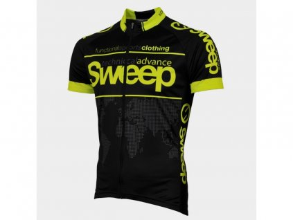 Cyklistický dres Sweep CLASIC D010A black/yellow fluo