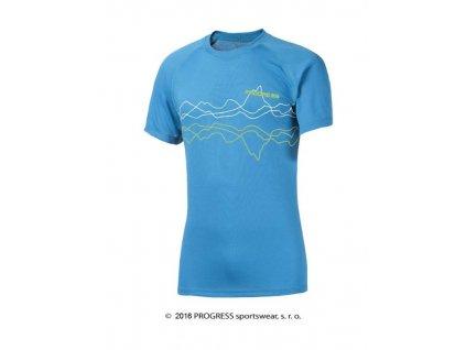 DF NKR PRINT pánské termo tričko krátký rukáv - modré